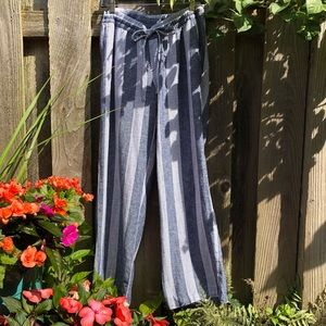 Breezy linen blend striped linen pants